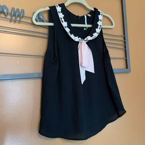 Lauren Conrad Black pink Peter Pan collar top